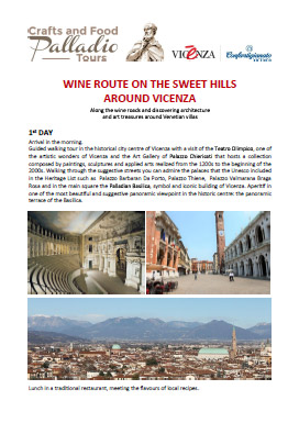 wine route on the sweet hills around vicenza