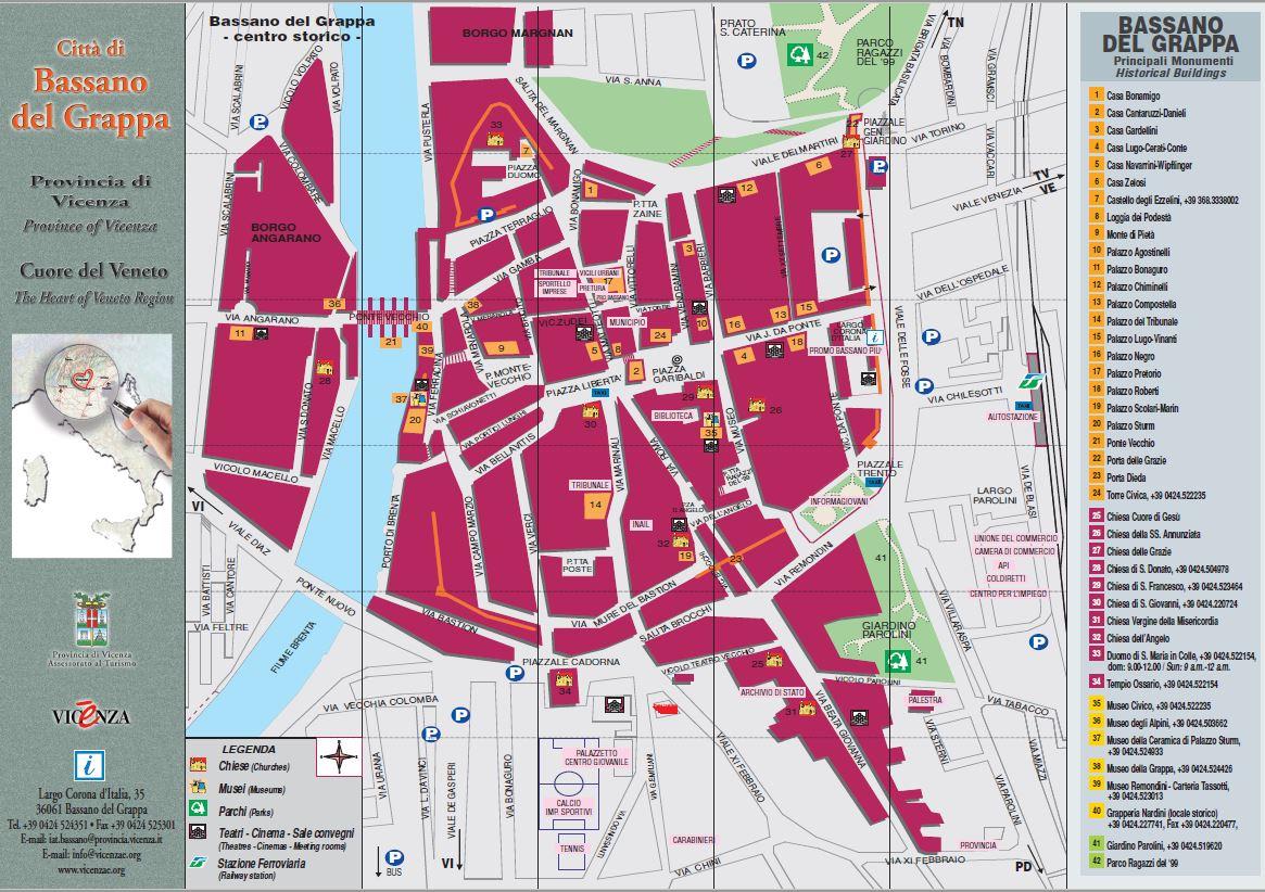 Casa Della Carta Padova bassano del grappa: la mappa della città ed i luoghi da